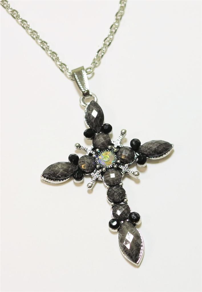 Silver Tone Rhinestone Gray Black Faceted  Acrylic Cross Pendant Necklace