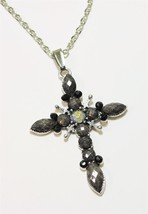 Silver Tone Rhinestone Gray Black Faceted  Acrylic Cross Pendant Necklace - £12.36 GBP
