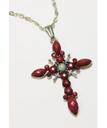 Silver Tone Rhinestone Red Faceted  Acrylic Cross Pendant Necklace - $14.99