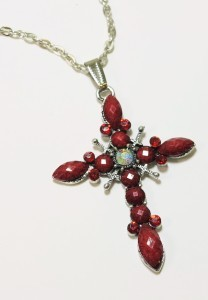 Silver Tone Rhinestone Red Faceted  Acrylic Cross Pendant Necklace