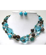 Triple Row Natural Turquoise Stone and Glass Ball Link Necklace Earring ... - $20.00