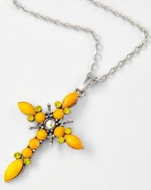 Silver Tone Rhinestone Yellow  Faceted  Acrylic Cross Pendant Necklace - £12.05 GBP