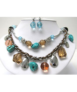 Double Row Turquoise Natural Stone and Glass Ball Dangle Necklace Earrin... - $25.00