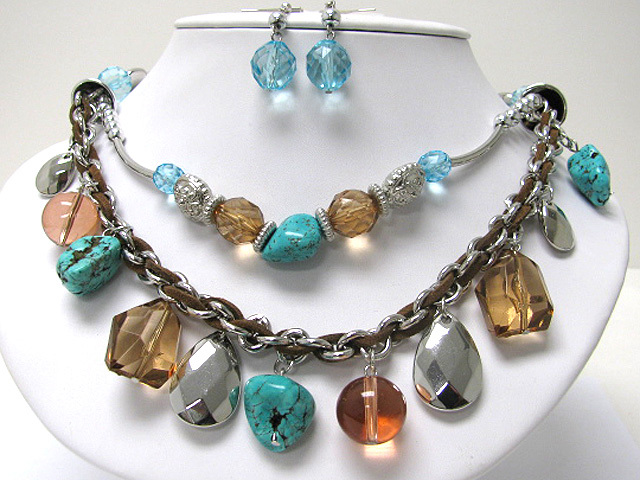 Double Row Turquoise Natural Stone and Glass Ball Dangle Necklace Earring Set