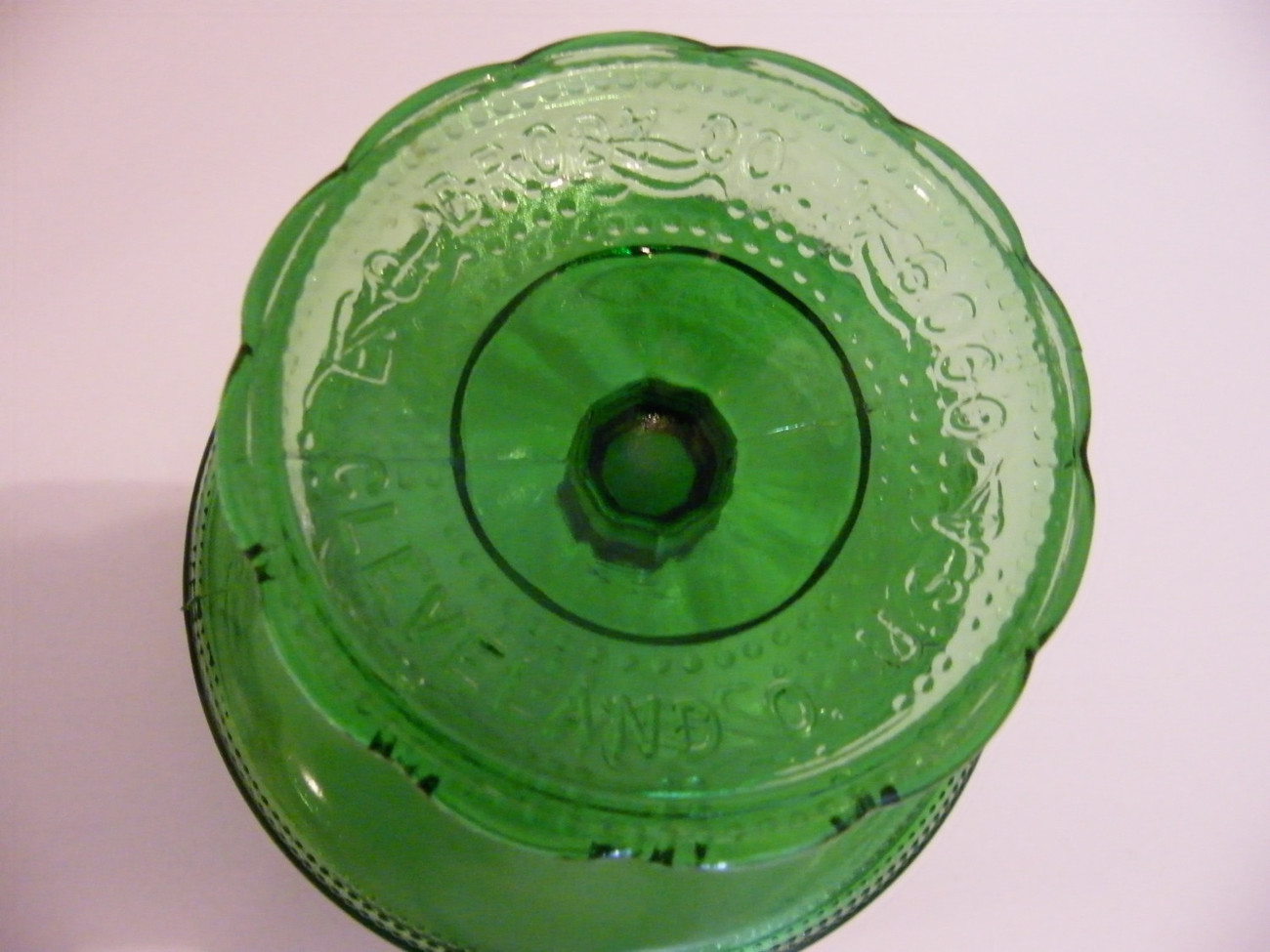 Vintage Green Pedestal Bowl