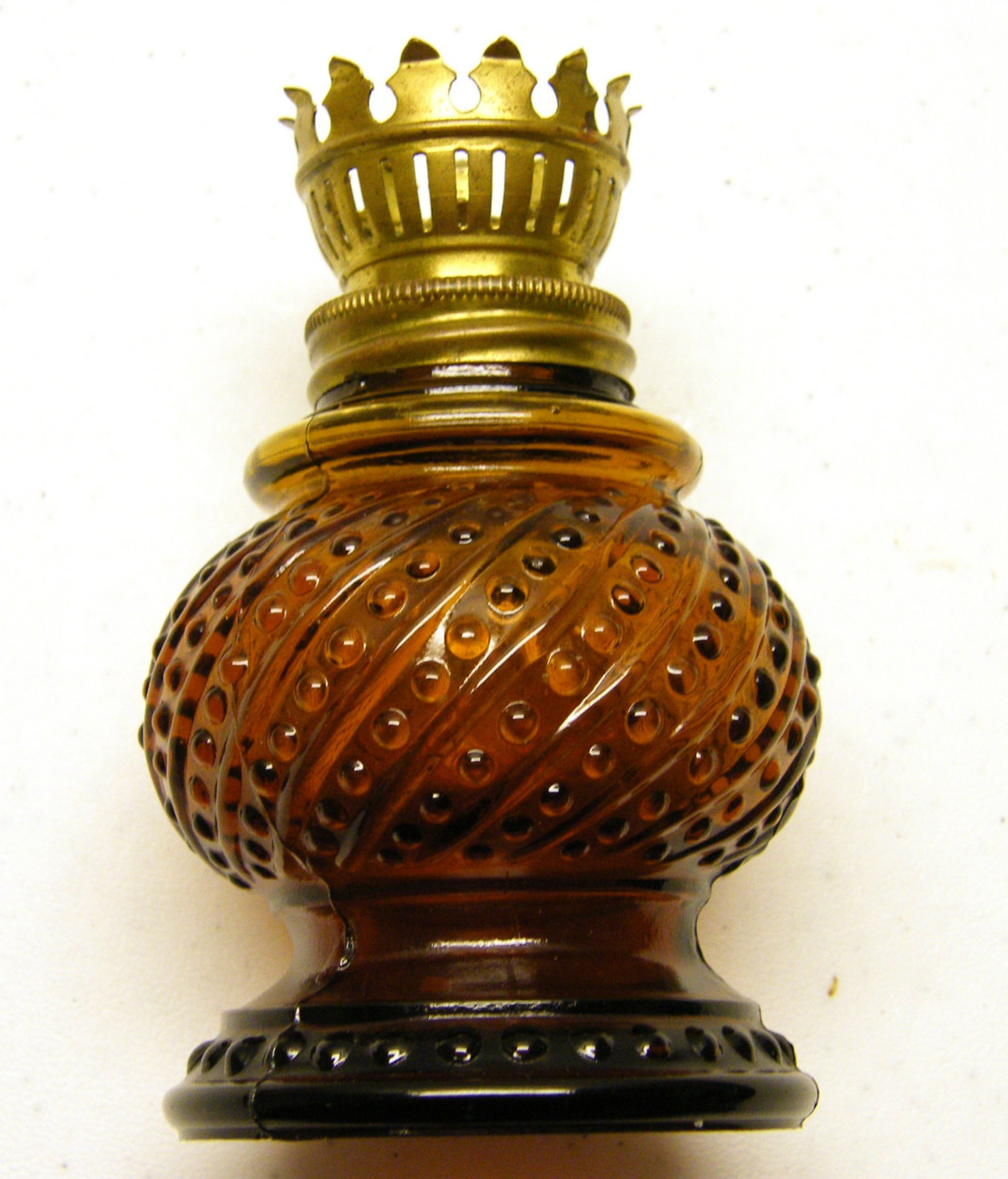 Amber hobnail candle holder
