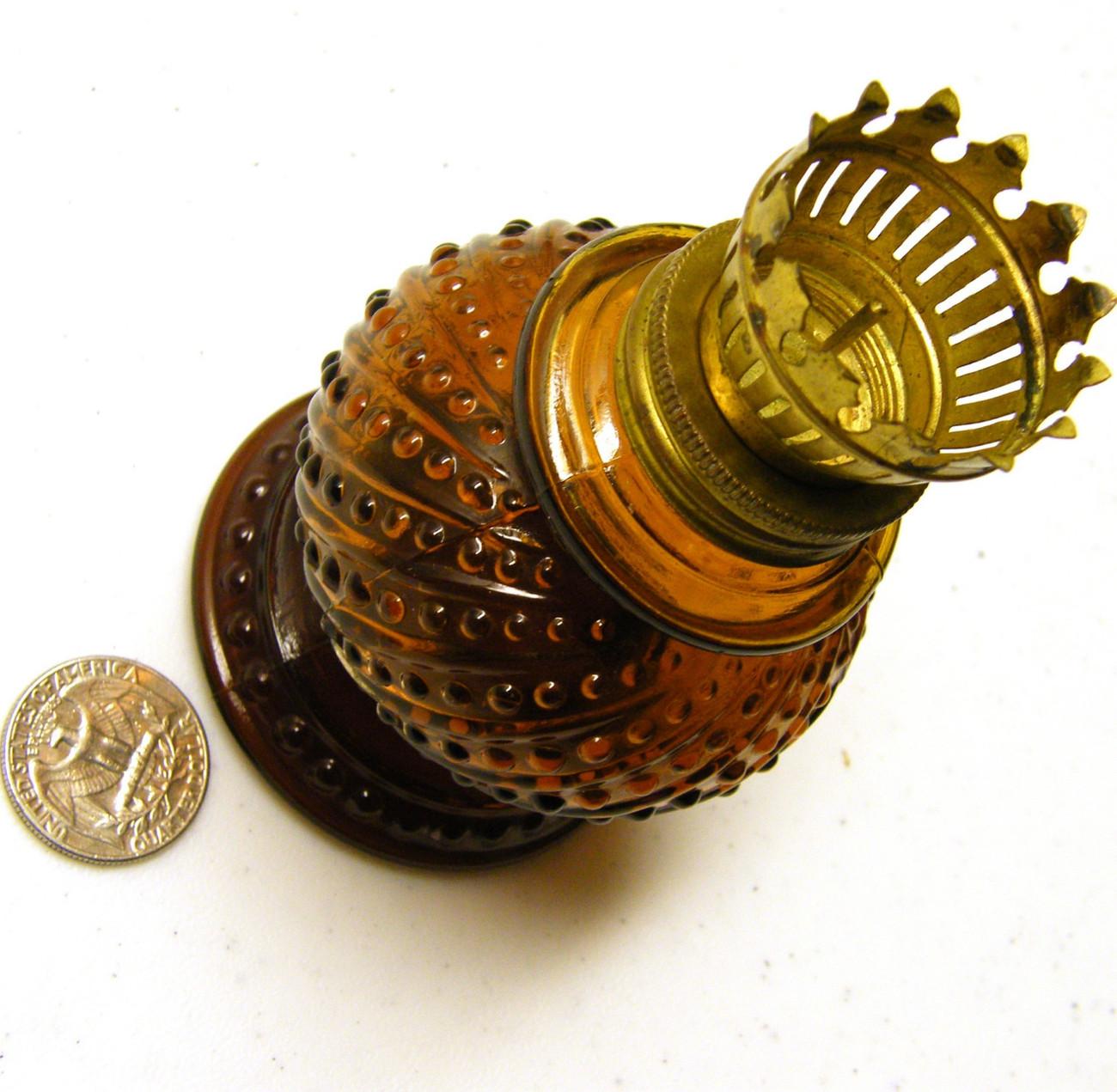 Amber hobnail candle holder