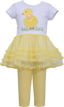 Bonnie Jean Little Girl 2T-6X Yellow White Baby Chick Tutu Dress Legging Set
