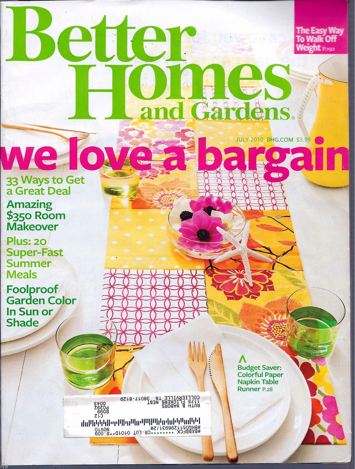 Primary image for Better Homes and Gardens July 2010 We Love A Great Bargain
