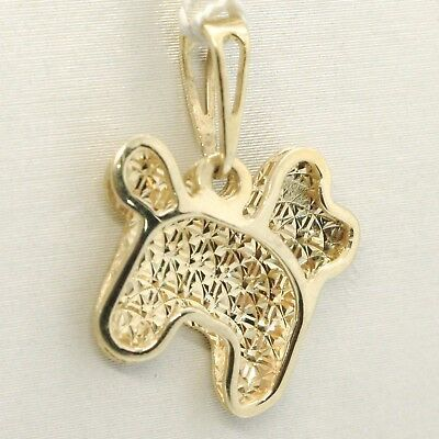 Yellow Gold Pendant 750 18K, Dog, Finely Knit Made in Italy