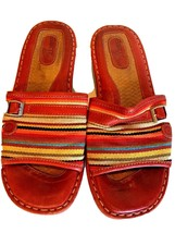 Born Drilles Womens Red Leather Cotton Sandals Shoes 8 Euro 39 Multicolor - $36.36