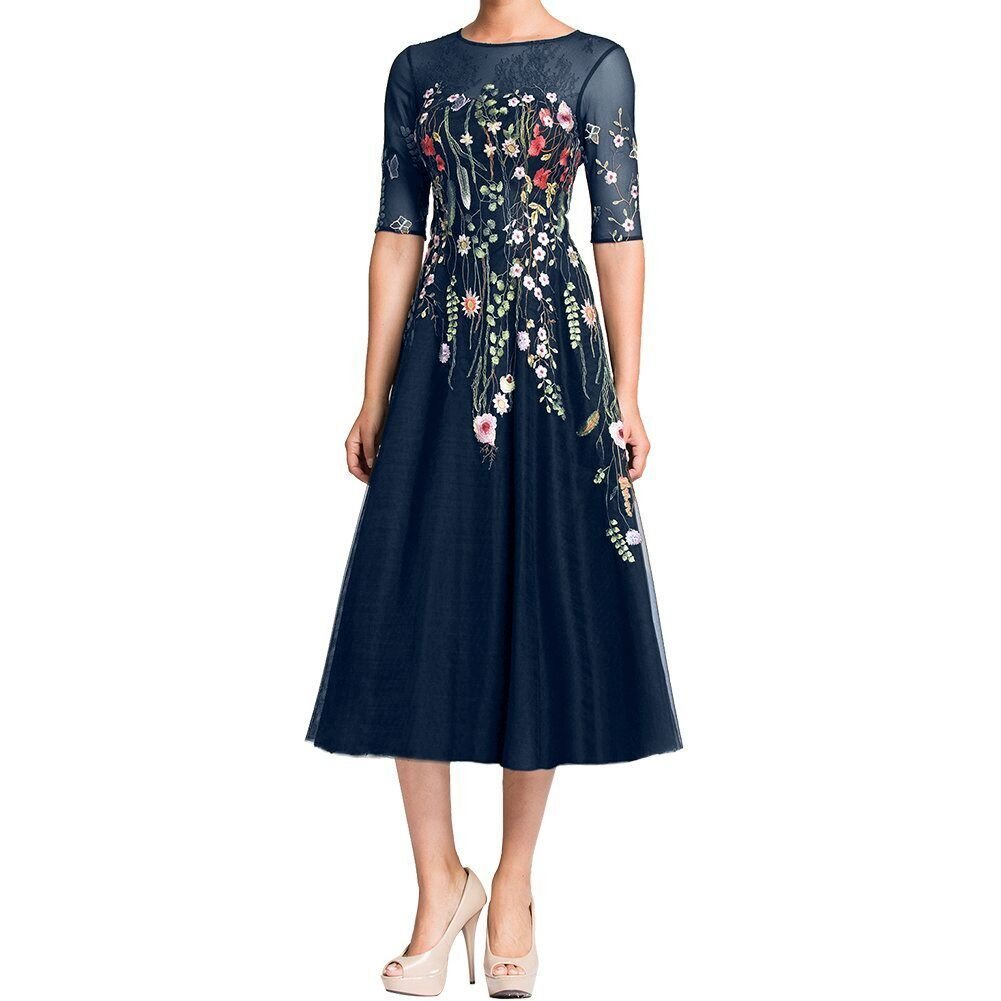 Half Sleeves Floral Print Formal Evening Dress Tea Length Mother of Bride Dress