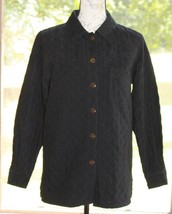 Talbots Size Small Petites Black Quilted Stretch Jacket Coat Button Fron... - $15.19