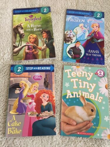 4 Girls Level 2 Reader Paperback Books Tangled Frozen Princess Bunny Animals