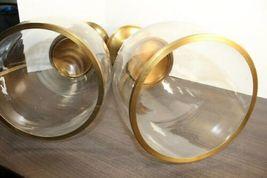 "Rare Set Of 2 Pottery Barn Olivia Candle Holder Hurricane 17"" Brass Tone image 3"