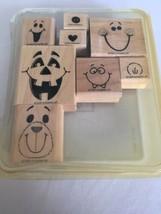 Stampin Up Fun Faces Mounted Stamp Set of 8 Halloween Jack O Lantern Bea... - $16.20