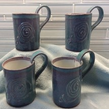Ruth Weiner Pottery Set Of 4 Mugs Swirls OOAK Purple Teal Hand Thrown Si... - $99.03