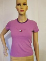 Vintage Tommy Jeans Spellout Womens Top Shirt Purple Flag Logo 90s 1990s... - $24.49