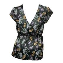 Zara Trafaluc Womens Black Floral Print Sheer Short Sleeve V-neck Top Sz S - $10.89