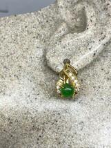Vintage Jade Earrings Gold Bronze - $43.55