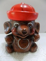 BROWN ELEPHANT I LOVE YOU COOKIE JAR BROWN w/ RED HAT. (4) - $43.56