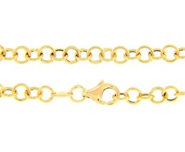 18K YELLOW GOLD CHAIN 19.70 IN, ROUND CIRCLE ROLO LINK DIAMETER 4 MM MADE ITALY image 5