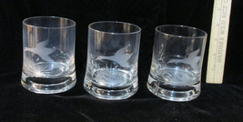 Tumbler Glasses Clear w/ Etched Flying Goose Geese Bird Duck Drinking Set 3 - $22.76