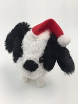 Walking Barking Stuffed Dog Black White Barks Jingle Bells Red Santa Hat... - $19.60