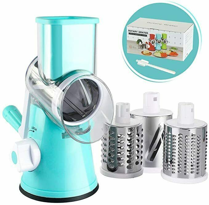 Cambom Manual Rotary Cheese Grater - Round Mandoline Slicer with Strong Suction