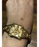 Or Hommes Acier Inoxydable Gothique Gratuit Maçon Bracelet - $94.30