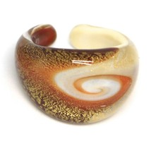 Ring Antique Murrina, Murano Glass, Leaf Golden, Brown, Spiral, Band image 1