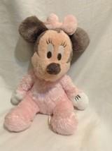 Disney Baby Minnie Mouse Pink Plush Stuffed Furry Baby Toy soft Disneyla... - $18.57