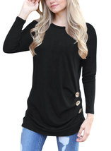 Women Long Sleeve Loose Button Trim Blouse Solid Color Round Neck Tunic ... - $22.85