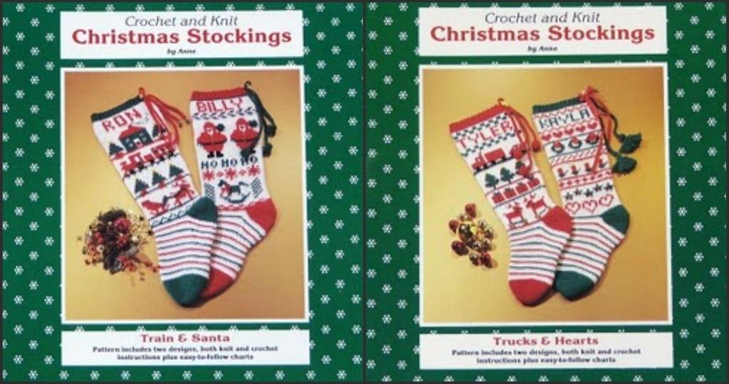 Christmas STOCKINGS! KNIT/CROCHET Train~Santa~Trucks~Hearts