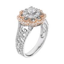 2 Tone Double Halo White Diamond Solid 14k White Gold Womens Wedding Ring - $599.99
