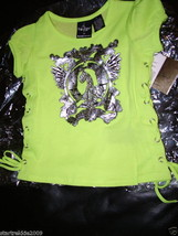 Baby Phat Foil Kitty Tee W/Side Ties, Mimosa , 2 T, Nwt  - $11.99