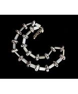 Vintage Donna Dressler White Art Glass Mother of Pearl MOP Beaded Neckla... - $53.99