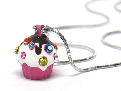 White Gold Plating Pretty Multi Crystal Ice Cream Cup Fuchsia Pink Necklace