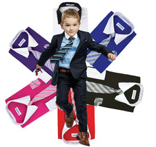 Berlioni Italy Boys Two Toned Kids Toddlers Dress Shirt With Tie & Hanky Set
