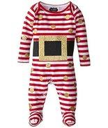 Mud Pie Baby-Girls Newborn Glitter Santa Footed One Piece, Red/White, 3-... - $24.50