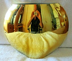 "Mid-Century Modern Gold Chrome Round Shape 10"" Glass Vase - $49.50"