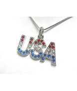 White Gold Plating Crystal USA Pendant Necklace - $16.00