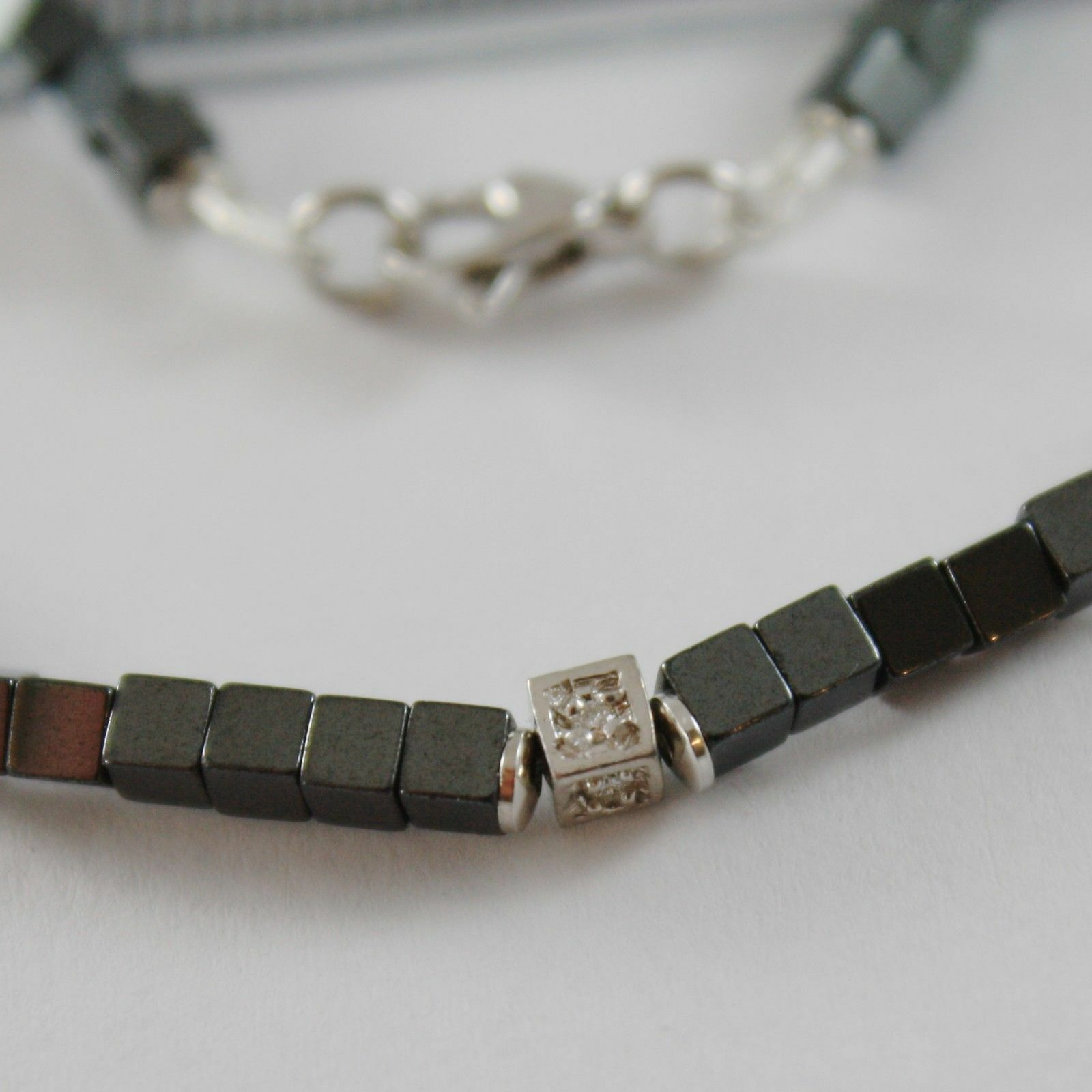 NECKLACE GIADAN 925 SILVER HEMATITE LUCID AND 8 DIAMONDS WHITE MADE IN ITALY image 3
