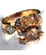 8.5 ct 14K GOLD & RHODIUM PLATED COCKTAIL CHAMPAGNE TOPAZ CZ CHATEAU RING  - $58.00