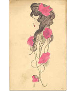 Flowers In Her Hair Hand Colored Vintage  Post Card - $5.00