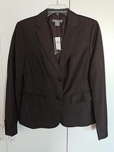 ANN TAYLOR LADIES 2-BUTTON BROWN PINSTRIPE BLAZER-10-NWT-POLY/RAYON/WOOL... - $9.99