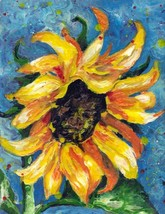 "Akimova: SUNFLOWER, wax painting, 9""x12"" - $18.00"