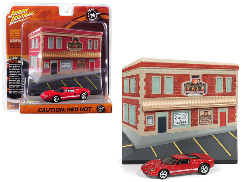 """2005 Ford GT Red with Resin Cafe Front Facade \""""Cars and Coffee\"""" Diorama 1/64 D - $25.98"""