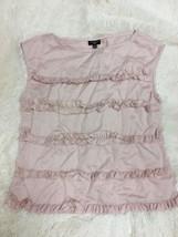 Talbots Women's Top Size 6 Petite Pink Ruffle Front Sleeveless  - $19.79