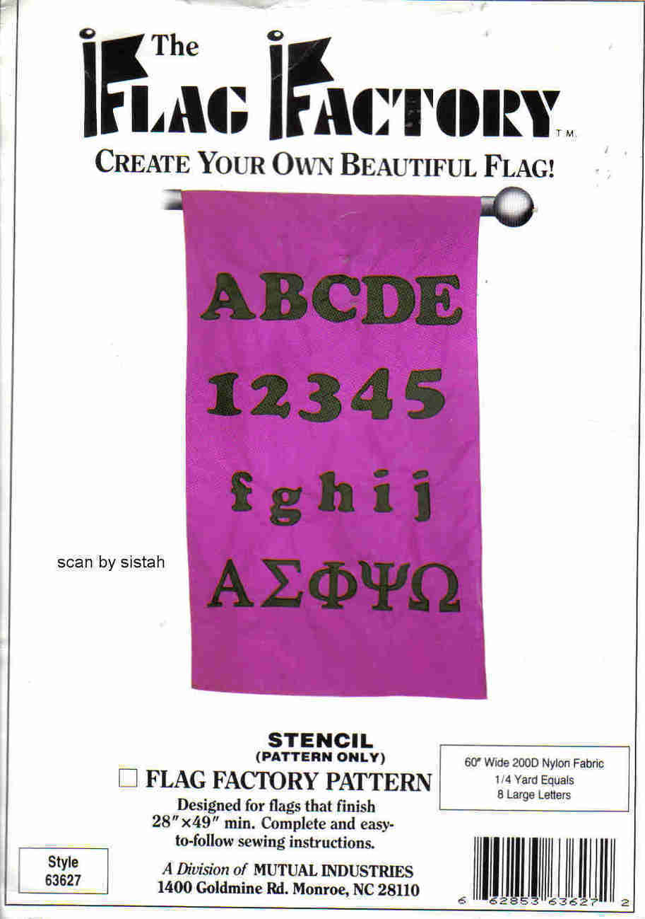 Flag Factory Alphabet Numbers stencil Pattern reuseable sew glue  yard art MC1